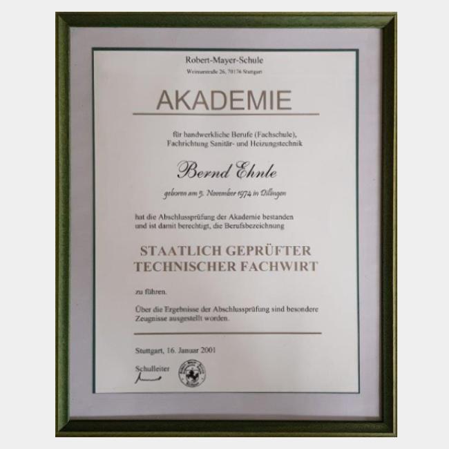 Bernd Ehnle – Staatlich geprüfter technischer Fachwirt