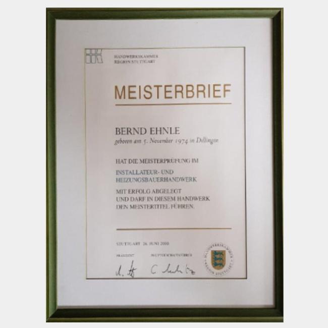 Bernd Ehnle – Meister Installateur- und Heizungsbauerhandwerk