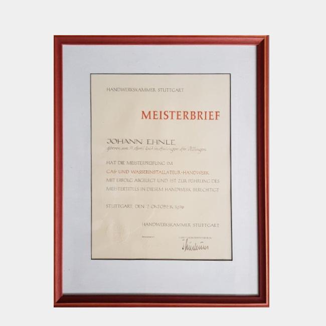 Johann Ehnle – Meister Gas- und Wasserinstallateur-Handwerk