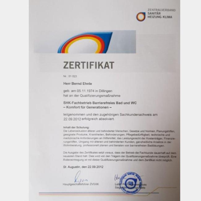 Zertifikat Barrierefreies Bad und WC