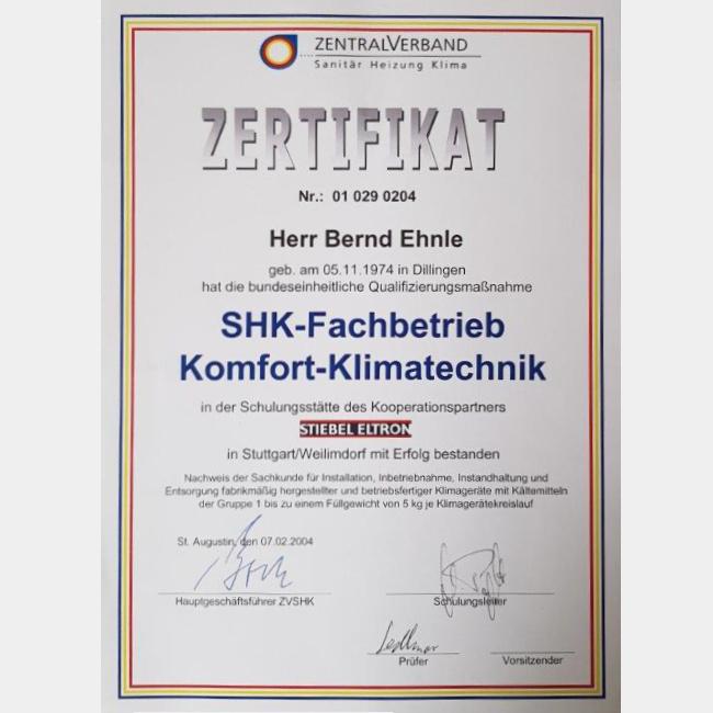 Zertifikat SHK-Fachbetrieb Komfort-Klimatechnik