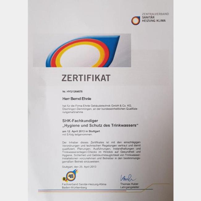 """Zertifikat SHK Fachkundiger """"Hygiene und Schutz des Trinkwassers"""""""