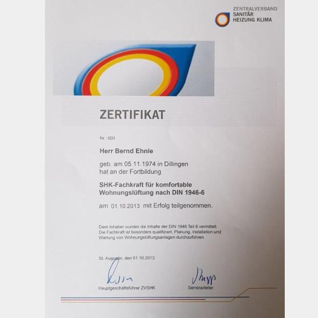 Zertifikat SHK-Fachkraft für komfortable Wohnungslüftung nach DIN 1946-6