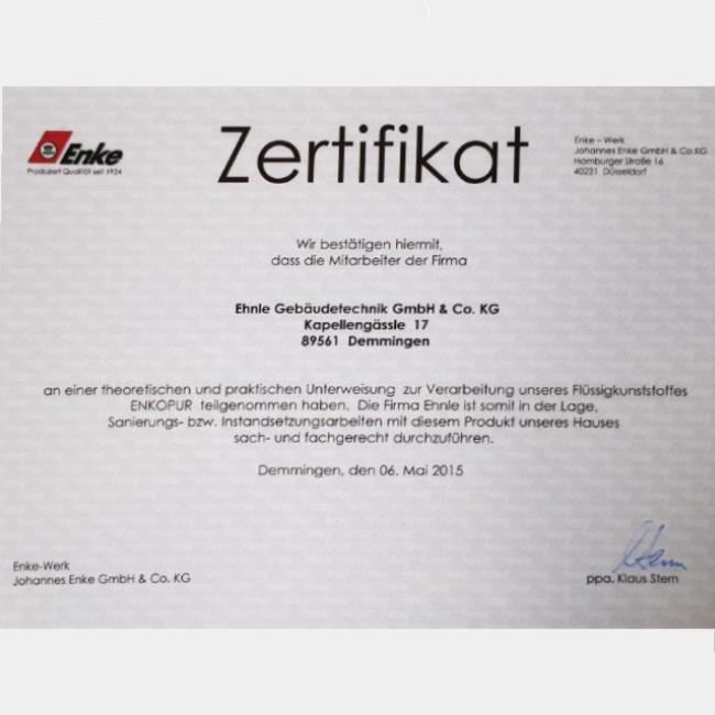 Zertifikat Verarbeitung von Enke Flüssigkunststoff